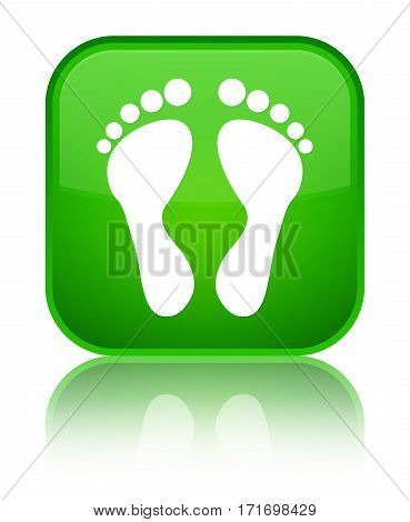 Footprint Icon Shiny Green Square Button