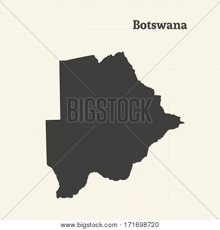 Outline map of Botswana. Isolated vector illustration.