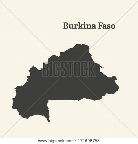 Outline map of Burkina Faso. Isolated vector illustration.