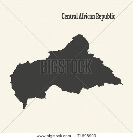 Outline map of Central African Republic. Isolated vector illustration.
