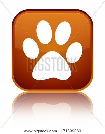 Animal Footprint Icon Shiny Brown Square Button