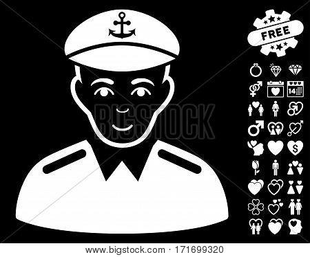 Captain icon with bonus decorative symbols. Vector illustration style is flat iconic white symbols on black background.
