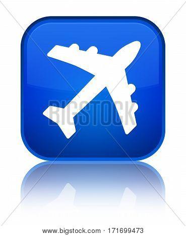 Plane Icon Shiny Blue Square Button