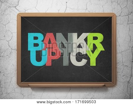 Law concept: Painted multicolor text Bankruptcy on School board background, 3D Rendering