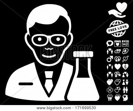 Chemist icon with bonus romantic icon set. Vector illustration style is flat iconic white symbols on black background.