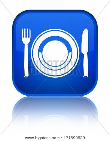 Food Plate Icon Shiny Blue Square Button