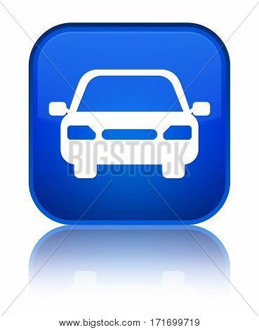 Car Icon Shiny Blue Square Button