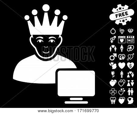 Computer Moderator pictograph with bonus amour pictograph collection. Vector illustration style is flat iconic white symbols on black background.