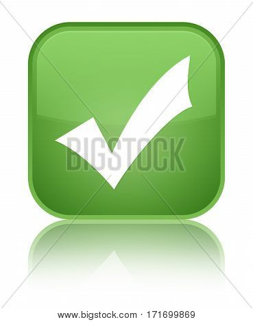 Validation Icon Shiny Soft Green Square Button