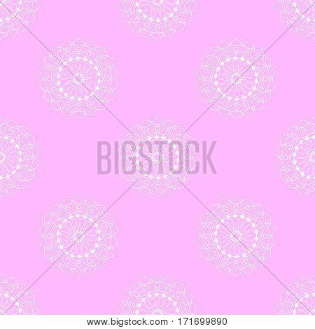 seamless pattern, mandala, beautiful white pattern on a pink background, vector illustration