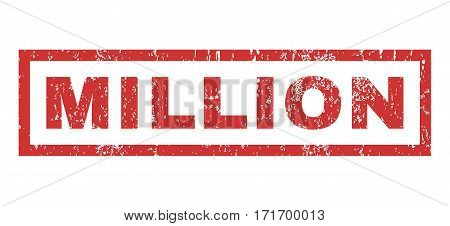 Million text rubber seal stamp watermark. Tag inside rectangular banner with grunge design and dust texture. Horizontal vector red ink emblem on a white background.