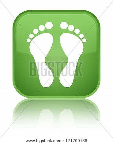 Footprint Icon Shiny Soft Green Square Button