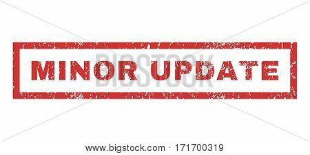 Minor Update text rubber seal stamp watermark. Tag inside rectangular shape with grunge design and scratched texture. Horizontal vector red ink sign on a white background.