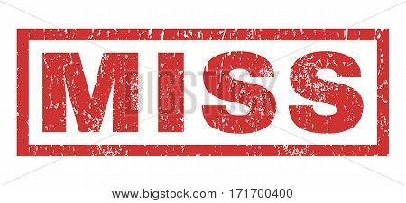 Miss text rubber seal stamp watermark. Tag inside rectangular banner with grunge design and dust texture. Horizontal vector red ink sticker on a white background.
