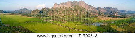 Panoramic aerial view of mountain landscape in Hpa-an province, Myanmar