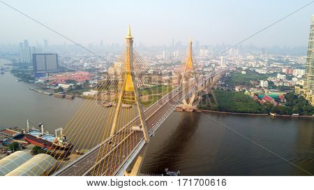 Bhumibol bridge aerial view over the Chao Phraya river in Bangkok, Thailand