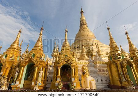 The famous Shwedagon Pagoda in Rangoon, Myanmar
