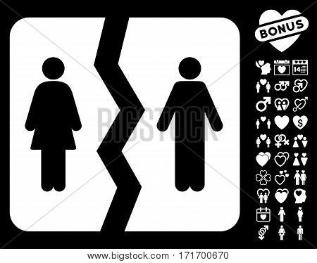 Divorce pictograph with bonus valentine design elements. Vector illustration style is flat iconic white symbols on black background.