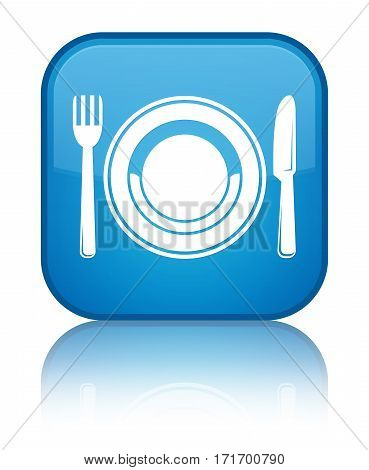 Food Plate Icon Shiny Cyan Blue Square Button