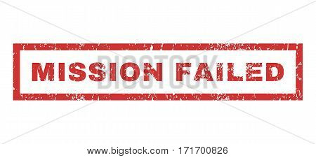 Mission Failed text rubber seal stamp watermark. Tag inside rectangular banner with grunge design and scratched texture. Horizontal vector red ink emblem on a white background.