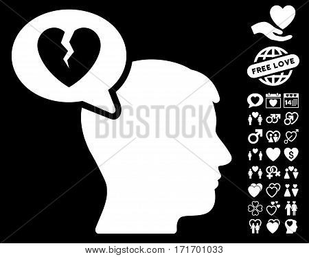 Divorce Thinking Man icon with bonus amour pictograph collection. Vector illustration style is flat iconic white symbols on black background.