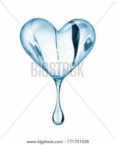 Transparent heart made of melting ice on white background