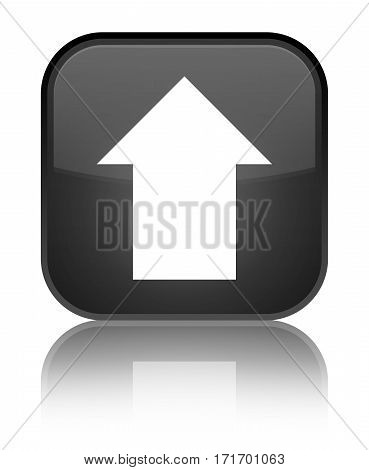 Upload Arrow Icon Shiny Black Square Button