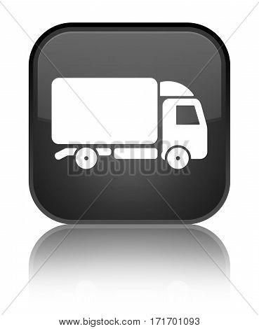 Truck Icon Shiny Black Square Button