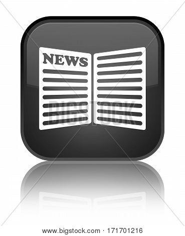 Newspaper Icon Shiny Black Square Button