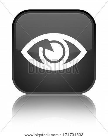 Eye Icon Shiny Black Square Button