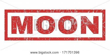 Moon text rubber seal stamp watermark. Tag inside rectangular banner with grunge design and unclean texture. Horizontal vector red ink sign on a white background.