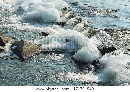 bubbling water in partly frozen river in winter