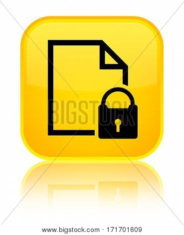 Secure Document Icon Shiny Yellow Square Button