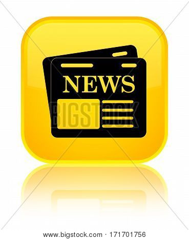 Newspaper Icon Shiny Yellow Square Button