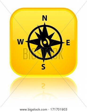 Compass Icon Shiny Yellow Square Button