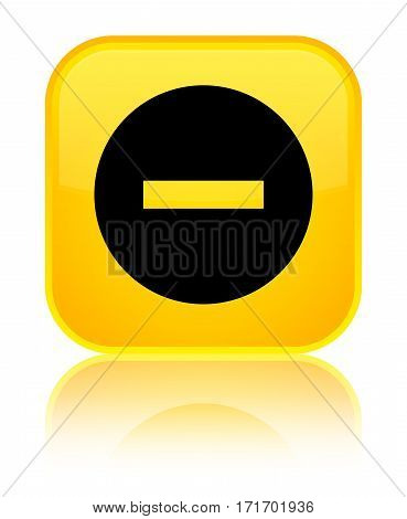 Cancel Icon Shiny Yellow Square Button