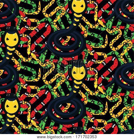 Serpent tangle and cobra black seamless pattern vector. Dense snake print wild reptile animal background.