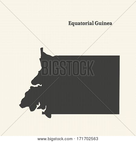 Outline map of Equatorial Guinea. Isolated vector illustration.