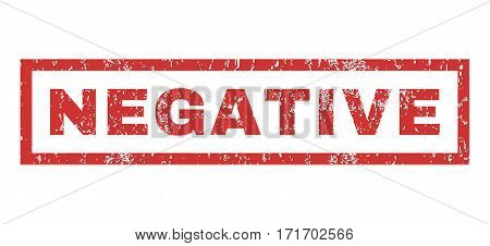 Negative text rubber seal stamp watermark. Caption inside rectangular banner with grunge design and dust texture. Horizontal vector red ink sticker on a white background.