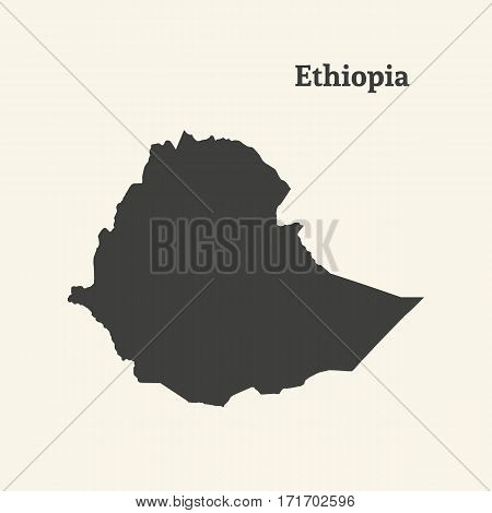 Outline map of Ethiopia. Isolated vector illustration.