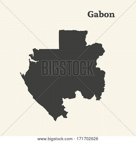 Outline map of Gabon. Isolated vector illustration.