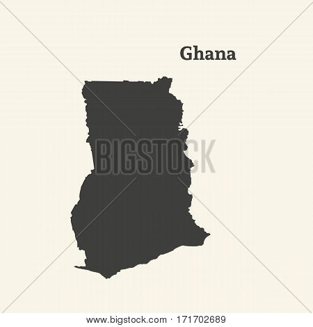 Outline map of Ghana. Isolated vector illustration.