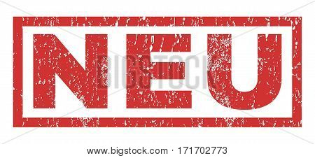 Neu text rubber seal stamp watermark. Caption inside rectangular shape with grunge design and unclean texture. Horizontal vector red ink sticker on a white background.