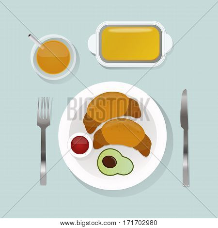 Healthy nutrition proteins fats carbohydrates breakfast balanced diet cooking culinary and food with croissant vector. Morning natural vegetarian energy balance.