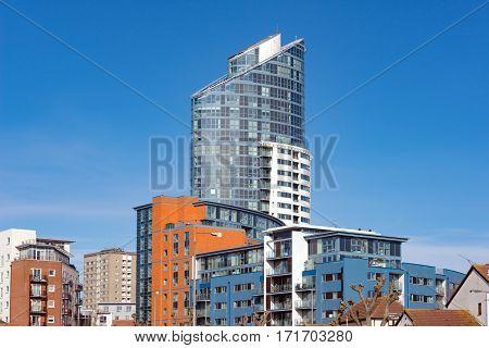 The modern Gunwharf Quays skyline in Portsmouth, UK.