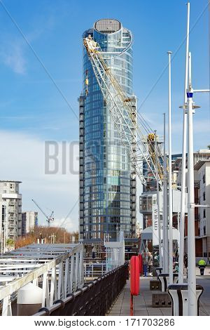 Portsmouth, UK. 16th February 2017. Tall buildings at Gunwharf Quays in Portsmouth, UK. Gunwharf Quays is a mixed use retail and leisure facility on the UK's south coast.