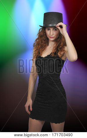 Woman Wearing A Top Hat