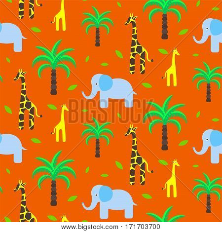 Savannah animals child cute seamless pattern vector. Giraffe and elephant with palm trees on orange background.