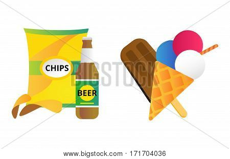 Chocolate vanilla ice cream cone soft delicious vector illustration. Refreshing dairy frozen product. Sweet flavor creamy tasty mixed food chips.