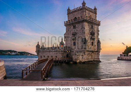 Tower of Belem at sunset on the Tagus River in Lisbon, capital of Portugal